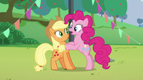 """Pinkie's second """"how""""; Pinkie puts her hooves on Applejack S5E24"""