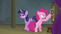 Pinkie Pie pulling the trapdoor lever S8E7