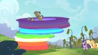 Rainbow transporting the bats onto the tree S4E07