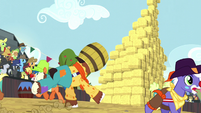 Trouble Shoes about to crash into hay bale stack S5E6
