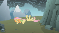 Applejack dragging Fluttershy S1E07