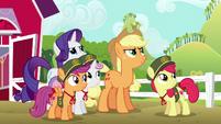 Applejack gives Rainbow Dash a warning S6E15
