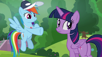 Rainbow pointing at the students S9E15
