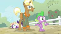 Trenderhoof and Spike looking S4E13