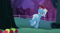 Trixie dizzily stumbles out from behind the tree S7E24