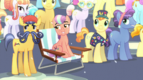 Crystal Ponies watching the --fireworks-- of Flurry Heart's magic beams S6E2
