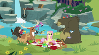 Fluttershy and animals having a picnic S8E4