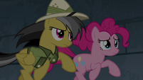 Pinkie Pie and Daring Do entering the pyramid S7E18