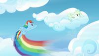 Rainbow Dash flying up to Vapor's cloud S6E24