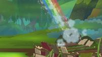 Rainbow Dash zooms into the sky S8E17