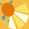 Orange sun with bursting yellow rays and six blue stars