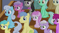 Audience of ponies with blank stares S6E4