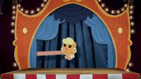 Cardboard cutout of baby Applejack BFHHS4