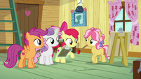 Cutie Mark Crusaders check on Kettle Corn's progress S7E21