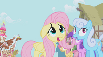 Fluttershy frightened by Gilda S1E05