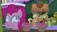 Pinkie Pie eating a pink cupcake S9E17