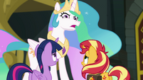 Princess Celestia looking offended at Sunset EGFF