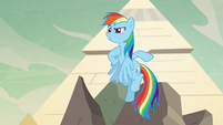 Rainbow Dash pointing at her neck S7E18