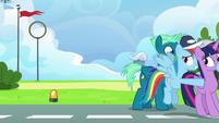 Rainbow pushes Twilight to the locker room S6E24