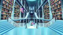 Cadance searching for books; Twilight reads the books to find the spell S6E2
