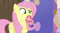 Fluttershy with cauliflower stuffed in her mouth S7E20
