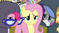 Pinkie, Fluttershy, and Rarity looking miserable S7E14