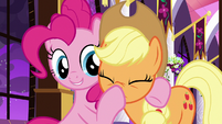 Pinkie boops Applejack on the nose S9E17