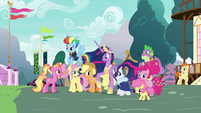 Princess Twilight and friends in Ponyville S9E26