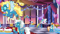 Celestia and the Wonderbolts at dinner S5E15