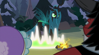 Chrysalis transforming by the campfire S9E8