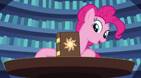 Pinkie Pie points out the book a fifth time EG2