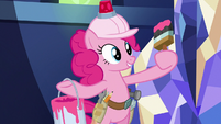 Pinkie holding a paint bucket and brush S8E1