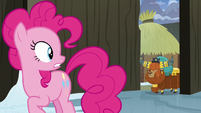Pinkie sees Prince Rutherford approach from behind S7E11