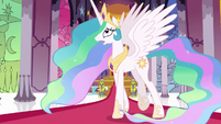 Princess Celestia pacing in her throne room S7E1