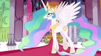 Princess Celestia pacing in her throne room S7E1