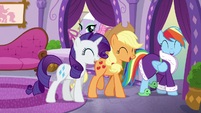 Rarity, Applejack, and Rainbow laughing together S6E10