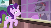 Starlight shares her excitement with ticket pony S7E24
