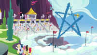 The Wonderbolts make star-shaped smoke trail S7E7