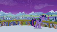 Twilight walking away from balcony edge S4E25