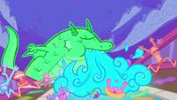 Fantasy sea monster incinerating the ship EGSB
