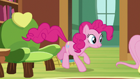 Pinkie Pie hopping out of her chair S7E5