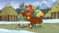 Prince Rutherford stomping a log to pieces S7E11