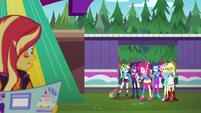 Sunset Shimmer sees her friends behind EGSBP