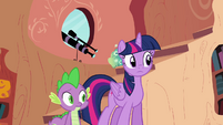 Twilight and Spike watching Pinkie S4E09