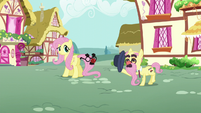 An elder pony tips his hat to Fluttershy S5E19