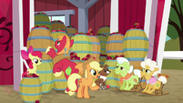 Apple family with dozens of apple barrels S9E10