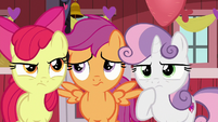 Cutie Mark Crusaders in deep thought S8E10