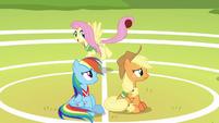 Fluttershy having fun behind Rainbow and AJ S6E18