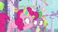 Pinkie Pie whispering in Spike's ear S5E12