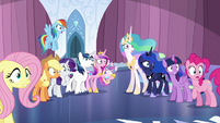 Ponies staring at the shattered Crystal Heart S6E1